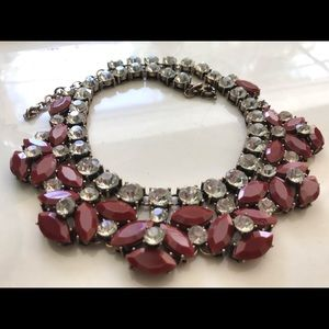 🔥NEW JCrew Red Lucite Crystal Studded Necklace🔥